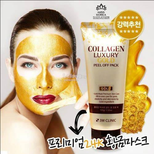 Mặt nạ dưỡng da tinh chất vàng 24k COLLAGEN & LUXURY GOLD - 3W CLINIC COLLAGEN & LUXURY GOLD FEEL OFF PACK 100ml nhập khẩu