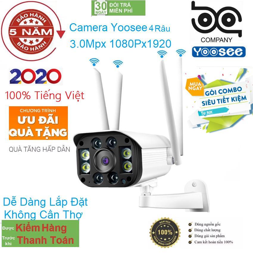 [CÓ MẦU BAN ĐÊM TẶNG THẺ NHƠ 128GB ] camera wifi 3.0 ngoài trời - trong nhà camera yoosee 4 Râu 3.0 Mpx full hd 1080p - hỗ trợ 4 đèn hồng ngoại và 4 đèn LED + kèm thẻ nhớ 128GB - NEW ( Có 2 Mã Có Thẻ 499K và Không Thẻ 420K) Vien thong bao an