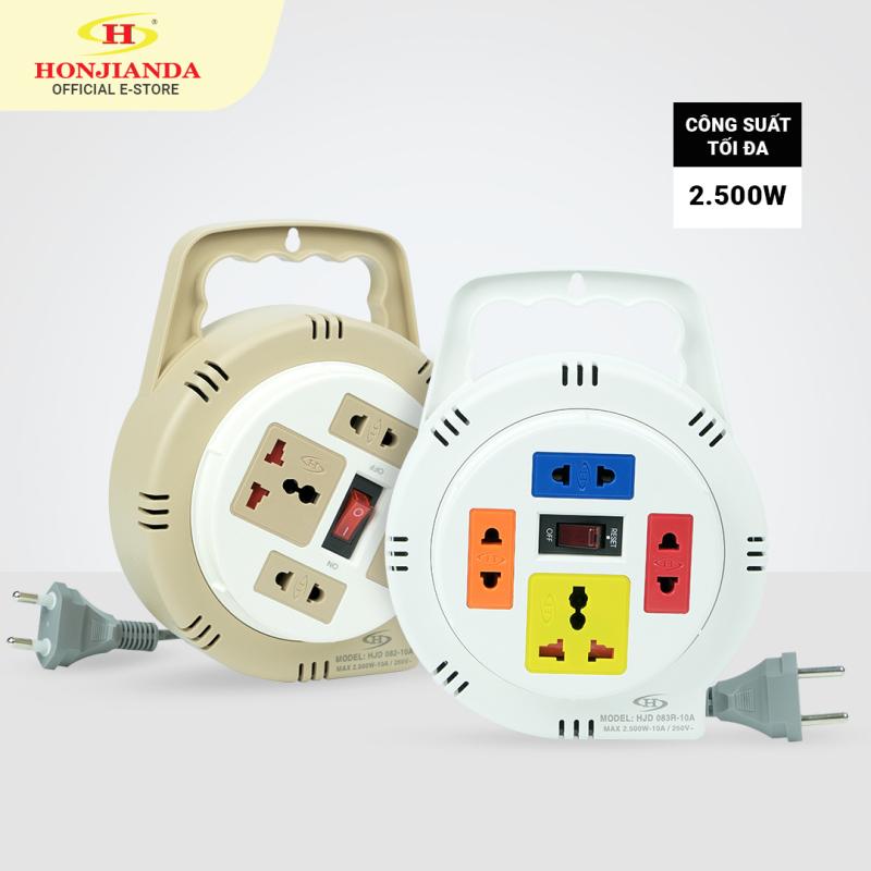 Ổ cắm điện tròn xoay tay Honjianda 2.500W dây kéo dài 5m/10m - Mã 082/083R