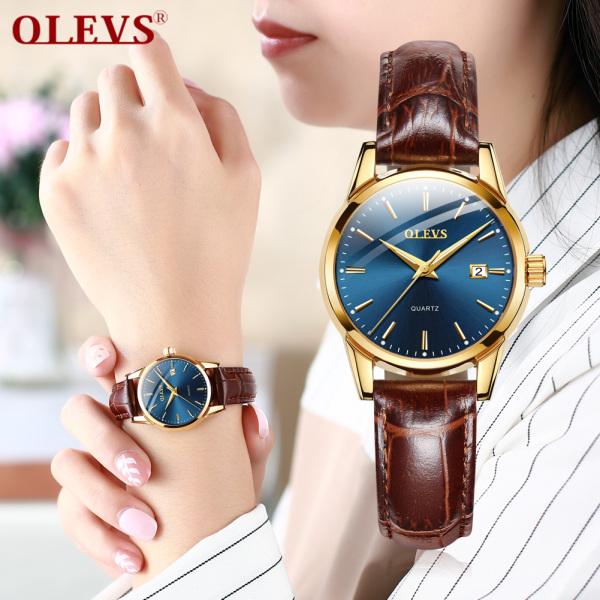 OLEVS Đồng hồ nữ chống nước cao cấp dây da có chi tiết vàng cao cấp bán chạy