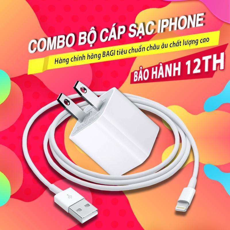 Combo bộ cáp sạc kèm củ sạc cho iPhone / iPad thương hiệu Bagi - Made in Việt Nam (CE-I51N+CB-IB100)