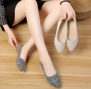 Giày búp bê nữ họa tiết caro chất vải êm chân thumbnail
