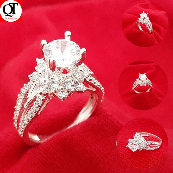 Nhẫn nữ Bạc Quang Thản, nhẫn bạc nữ ổ kết gắn đá kim cương nhân tạo 6ly chất liệu bạc thật không xi mạ có thể chỉnh size tay yêu cầu, phong cách trẻ trung thích hợp đeo tại các buối dạ tiệc, sinh nhật, làm quà tặng – QTNU56