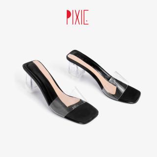 Guốc Cao Gót 5cm Quai Trong Mica Phối Màu Pixie X575