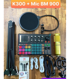 Trọn Bộ Sound Card K300 Mic Thu Âm BM 900 , Autotune Bluetooth , Chân+Lọc+dây Đầy Đủ Phụ Kiện Đi Kèm , Hát Livestream , Karaoke ( BẢO HÀNH 12 THÁNG ) thumbnail