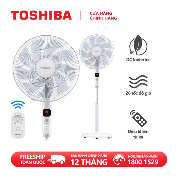 Quạt đứng Toshiba F-LSD10(W)VN - Điều khiển từ xa núm xoay vô cực - 9 cánh - DC inverter tiết kiệm điện 70% - 26 tốc độ gió - Vận hành siêu êm - Màn hình LED hiển thị - Hàng chính hãng, bảo hành 12 tháng, chất lượng Nhật Bản