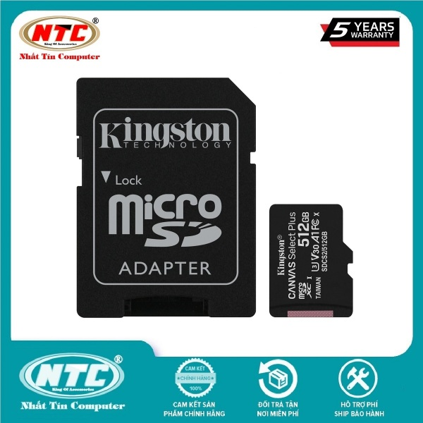 Thẻ nhớ MicroSDXC Kingston Canvas Select Plus 512GB U3 V30 A1 R100MB/s W85MB/s (Đen) - Kèm Adapter - Nhất Tín Computer