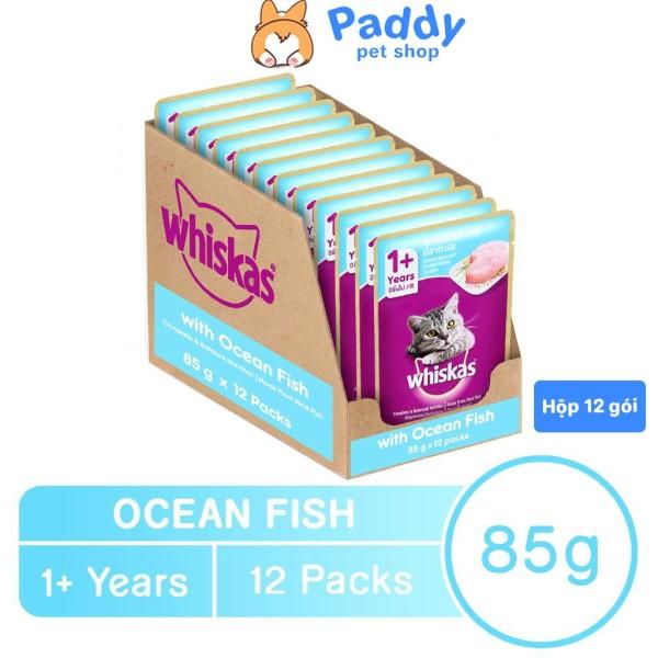 Pate Cho Mèo Lớn Whiskas Vị Cá Biển Gói 85g - Hộp 12 Gói