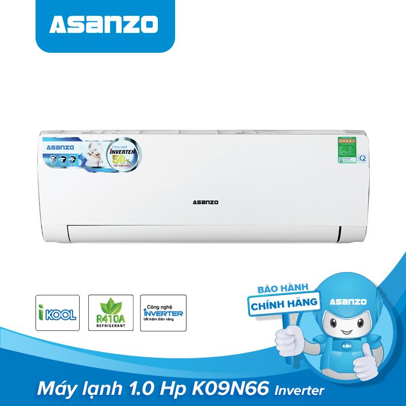Máy Lạnh Asanzo Inverter Icool 1HP K09N66 ( Công Nghệ Tiết Kiệm Điện, Làm Lạnh Nhanh) - Hàng Chính Hãng Bảo Hành 2 Năm