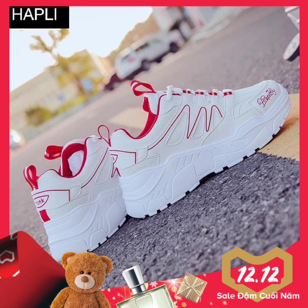 Hình ảnh Giày sneaker nữ độn đế đẹp vạch sóng HAPLI (Trắng vạch đỏ, Trắng vạch đen)