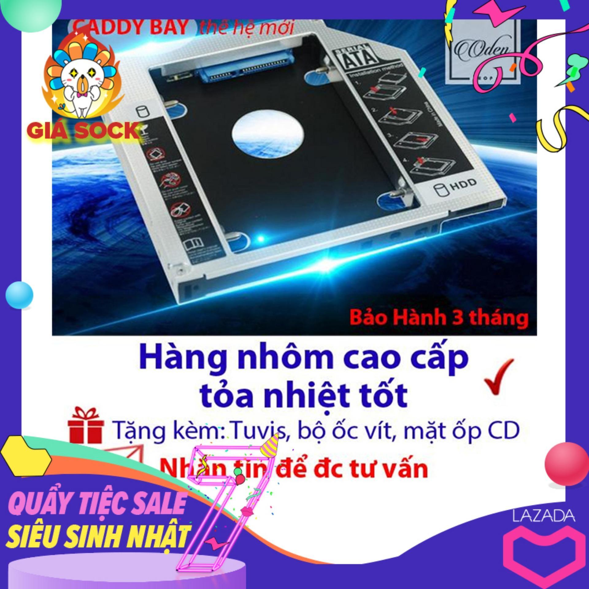 Khay gắn HDD/SSD cổng DVD - Caddy Bay SATA gắn thêm ổ cứng cho Laptop 9.5mm Mỏng - oden0241