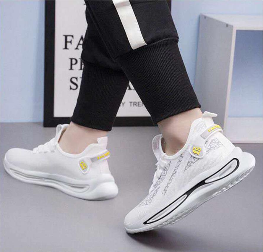 Giày sneaker nam thời trang đế trắng viền đen siêu đẹp