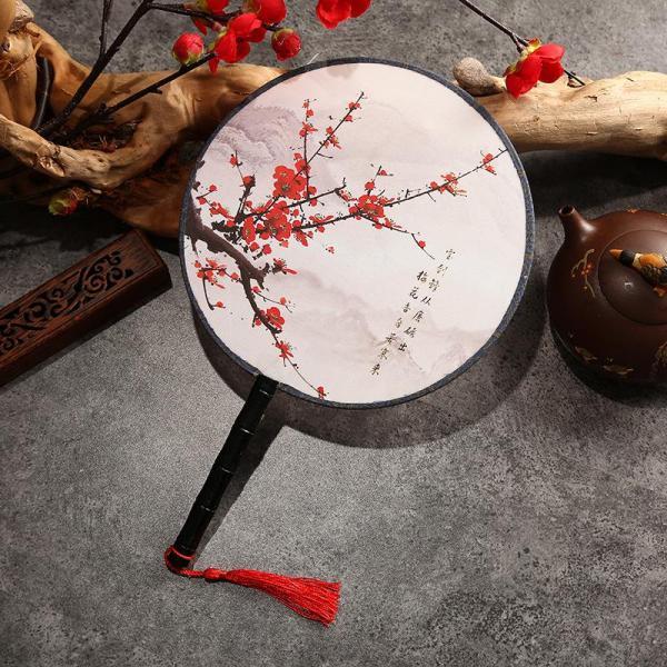 Quạt tròn cổ trang loại nhỏ, Quạt tròn cổ trang dây tuyến vải lụa in họa tiết phong cách Trung Hoa