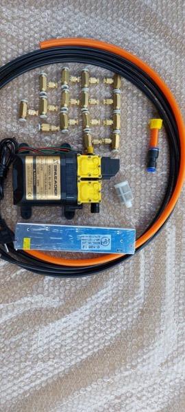 Bộ bơm phun sương 15 béc đồng sử dụng bơm đôi SINLEADER 12V nguồn tổ ong 12V10A 15 béc đồng 20M dây phun sương 1M dây hút