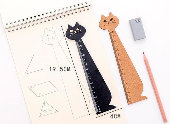 Mua Thước kẻ gỗ hình mèo 2 màu đen và vàng, thước kẻ, thước gỗ, thước đo, đồ dùng học tập, đồ dùng học tập dễ thương, bộ đồ dùng học tập