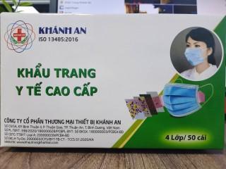 Khẩu trang y tế cao cấp khánh an- 4 lớp giấy kháng khuẩn -Hộp 50 cái thumbnail