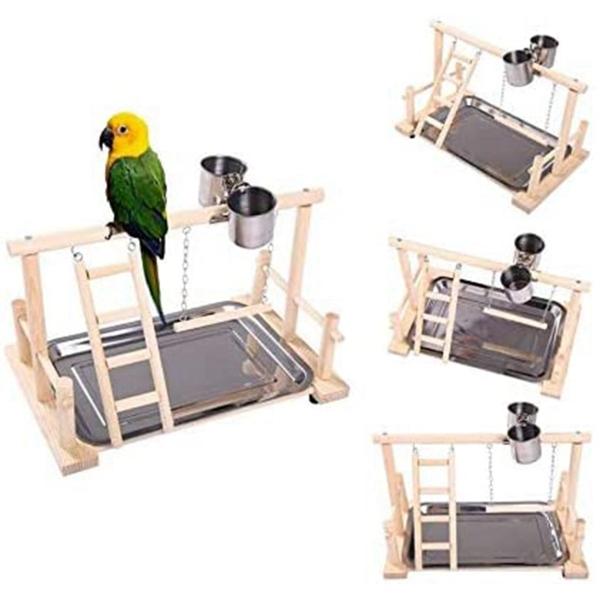ZEEBR Conure Lovebirds Phòng tập thể dục Sân chơi Lung lay Đồ chơi thoải mái Với cốc nạp Chim cá rô Leo thang Vẹt Playstand Giá gỗ