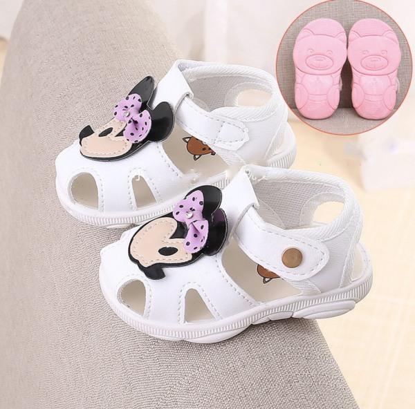Giá bán SN5-Giày sandal tập đi cho bé gái đế gấu có kèn hình chuột micky siêu dễ thương - Kèm hình thật