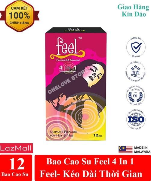 Bao cao su Feel 4 in 1 giúp kéo dài thời gian - hương dâu dịu ngọt hộp 12 cái cao cấp