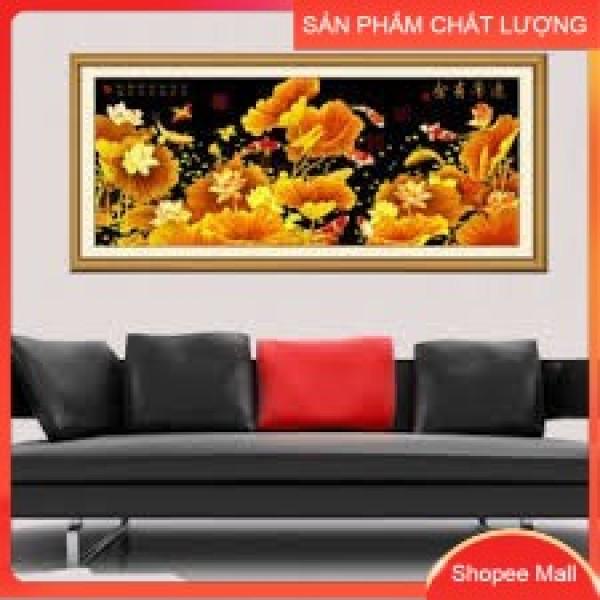 [HCM]Tranh thêu chữ thập Hoa sen vàng DLH-YA503 kích thước 165*72cm [Hàng có sẵn]