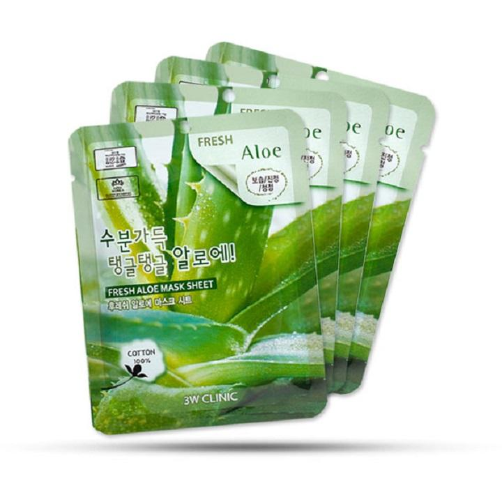 [Rẻ Vô Địch] Combo 10 Mặt nạ dưỡng ẩm dưỡng trắng da chiết xuất từ lô hội 3W Clinic Hàn Quốc