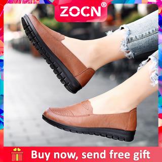 Giày Da Đế Bằng ZOCN Giày Thời Trang Nữ Giày Lười Giày Lười