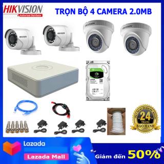 Bộ 4 camera giám sát hikvision 2.0Mb full phụ kiện lắp đặt H02 thumbnail