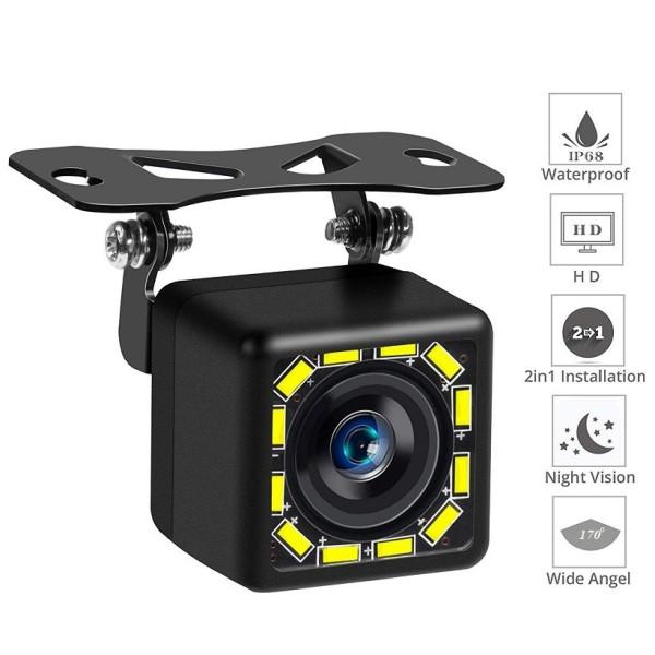 Camera Lùi Cho Xe Hơi Ô Tô CCD HD 12 LED (Vuông) Trợ Sáng Ban Đêm 7giftshop