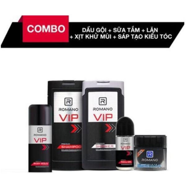 Combo Romano VIP: Dầu Gội 180g + Sữa Tắm 180g + Lăn Khử Mùi 50ml + Xịt Khử Mùi 150ml + Sáp Tạo Kiểu Tóc Matte 68g giá rẻ