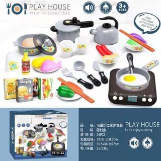 Bộ Đồ Chơi Nấu Ăn 36 Món Kitchen, Chất Liệu Nhựa An Toàn, Thiết Kế Độc Đáo và Tỉ Mỉ, đồ chơi nấu ăn, đồ chơi giáo dục học liệu sớm cho bé thumbnail