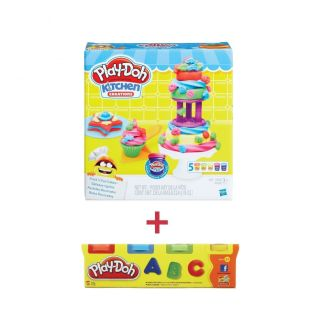 Combo Tháp bánh kem sắc màu tặng kèm hũ bột nặn 4 màu mini PLAYDOH CBB9741-23241 thumbnail