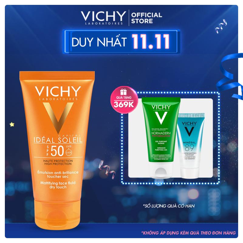 Kem chống nắng không gây nhờn rít Vichy Ideal Soleil Dry Touch SPF 50 Chống Tia UVA + UVB 50ml nhập khẩu