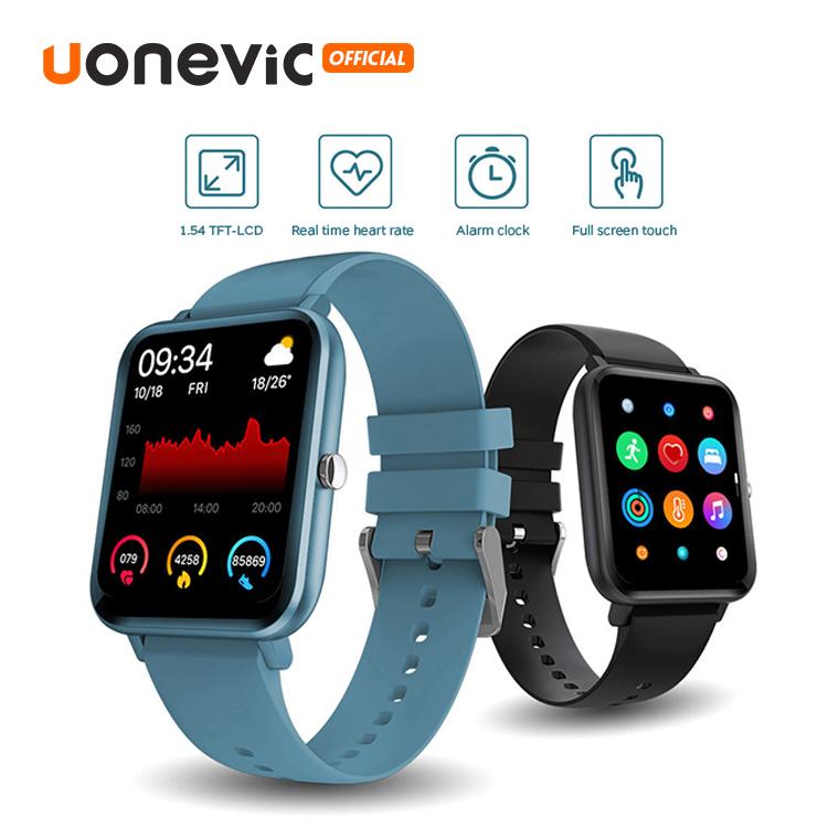 Đồng hồ thông minh Uonevic P8 LITE có thời tiết bơi lội nghe nhạc bluetooth màn hình HD chống nước IPX7 IOS và Android PK P8