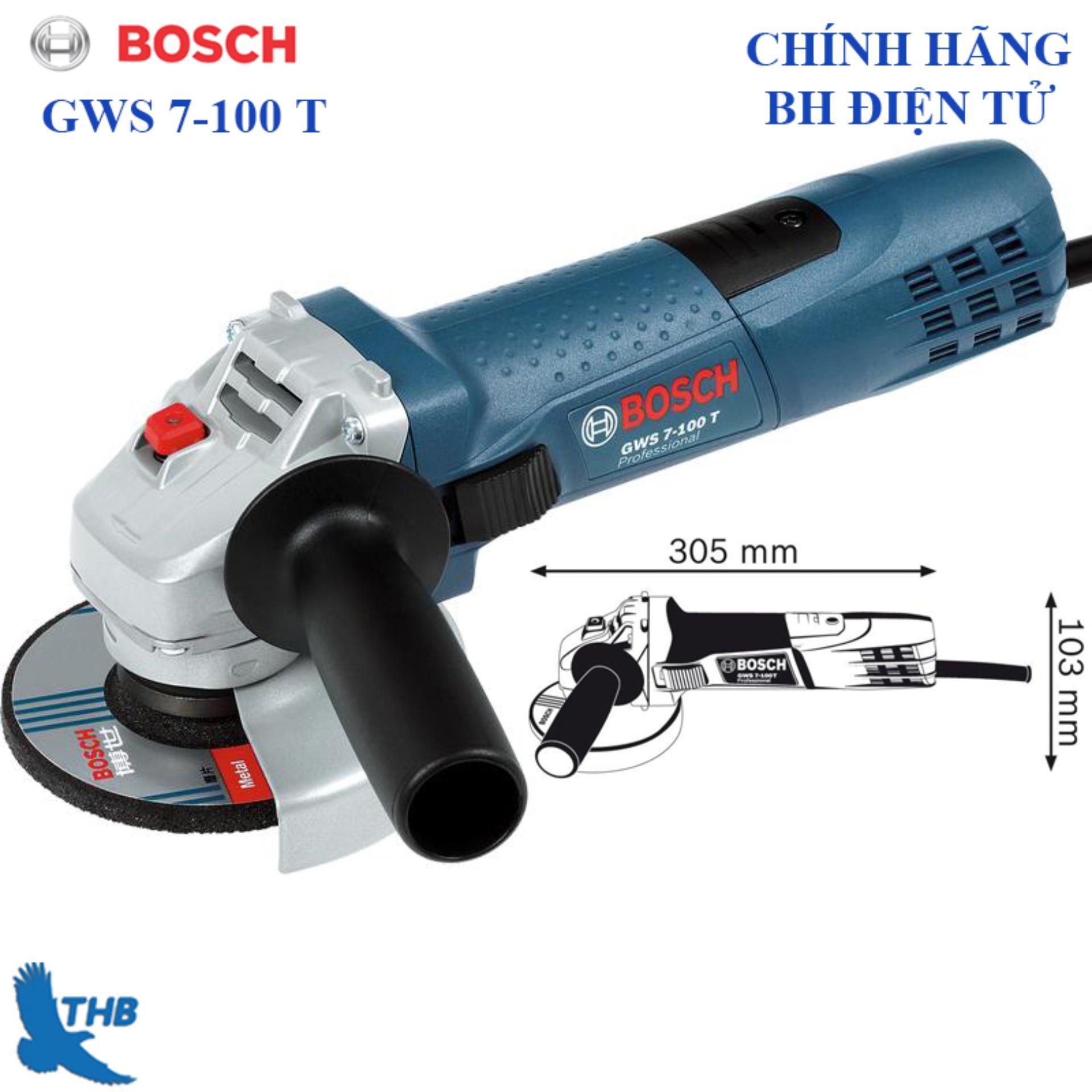 Máy mài góc nhỏ, Máy mài điện cầm tay, Máy mài cầm tay, máy cắt sắt cầm tay Bosch GWS 7-100 T ( Công suất 720W, đá 100mm, bảo hành điện tử 12 tháng)