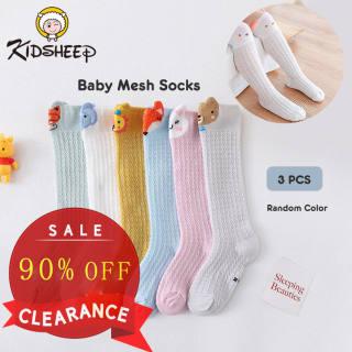 Kidsheep tất em bé Vớ lưới dài trẻ em từ 0-1 tuổi Vớ lưới chống muỗi côn trùng cho bé trai bé gái Cotton Hàn Quốc Hoạt Hình Xinh Xắn giữ ấm và bảo vệ bé 3 đôi