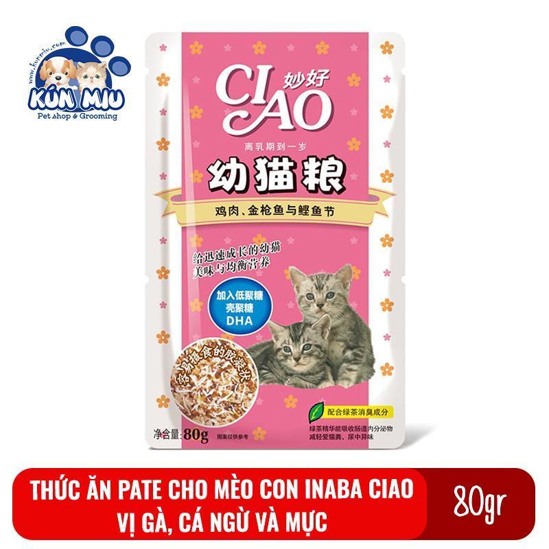 Thức ăn Pate cho mèo con Inaba Ciao gói 80gr Vị Gà, cá ngừ và mực