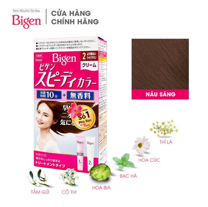 Thuốc nhuộm dưỡng tóc phủ bạc thảo dược Bigen Nhật Nhập Khẩu 100% Nhật Bản Speedy Color Cream 80ml dạng kem - Nâu Sáng 2 nhập khẩu
