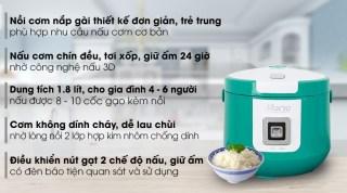 Nồi cơm nắp gài Sunhouse 1.8 lít SHD8658G Xanh-1.8 lít, Số người ăn 4 - 6 người Công suất 700 W Lòng nồi dày Hợp kim nhôm phủ chống dính Chức năng nấu 2 chế độ nấu Điều khiển Nút gạt Tiện ích Ủ ấm 3D Nơi sản xuất Việt Nam thumbnail