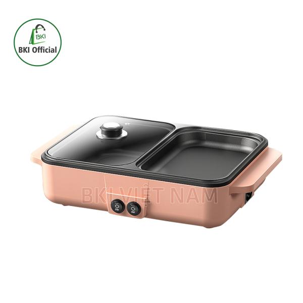 Bếp lẩu nướng 2 trong 1, lẩu điện mini 2 ngăn đa năng