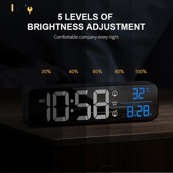 Nơi bán Blesiya Đồng Hồ Báo Thức LED Thông Minh, Snooze Nhiệt Kế Hiển Thị Máy Tính Để Bàn Trang Trí Nội Thất, 2000MAh