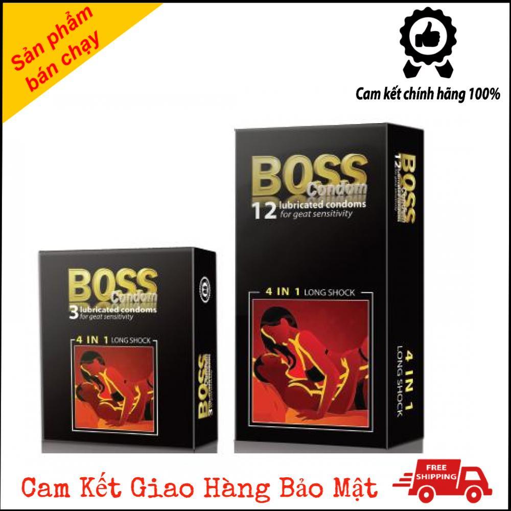 Bao Cao Su Cho Boss 4 in1 Gân Gai Kéo Dài Thời Gian Hộp 12 Cái [HangTotNhat]