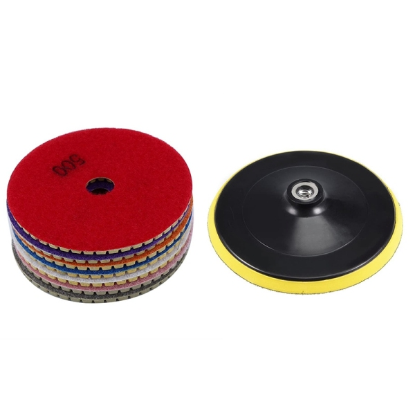 8Pcs Diamond Polishing Pads +Back-Up Pad 4 Inch Wet/Dry Set for Granite Stone Concrete Marble Grinding Discs