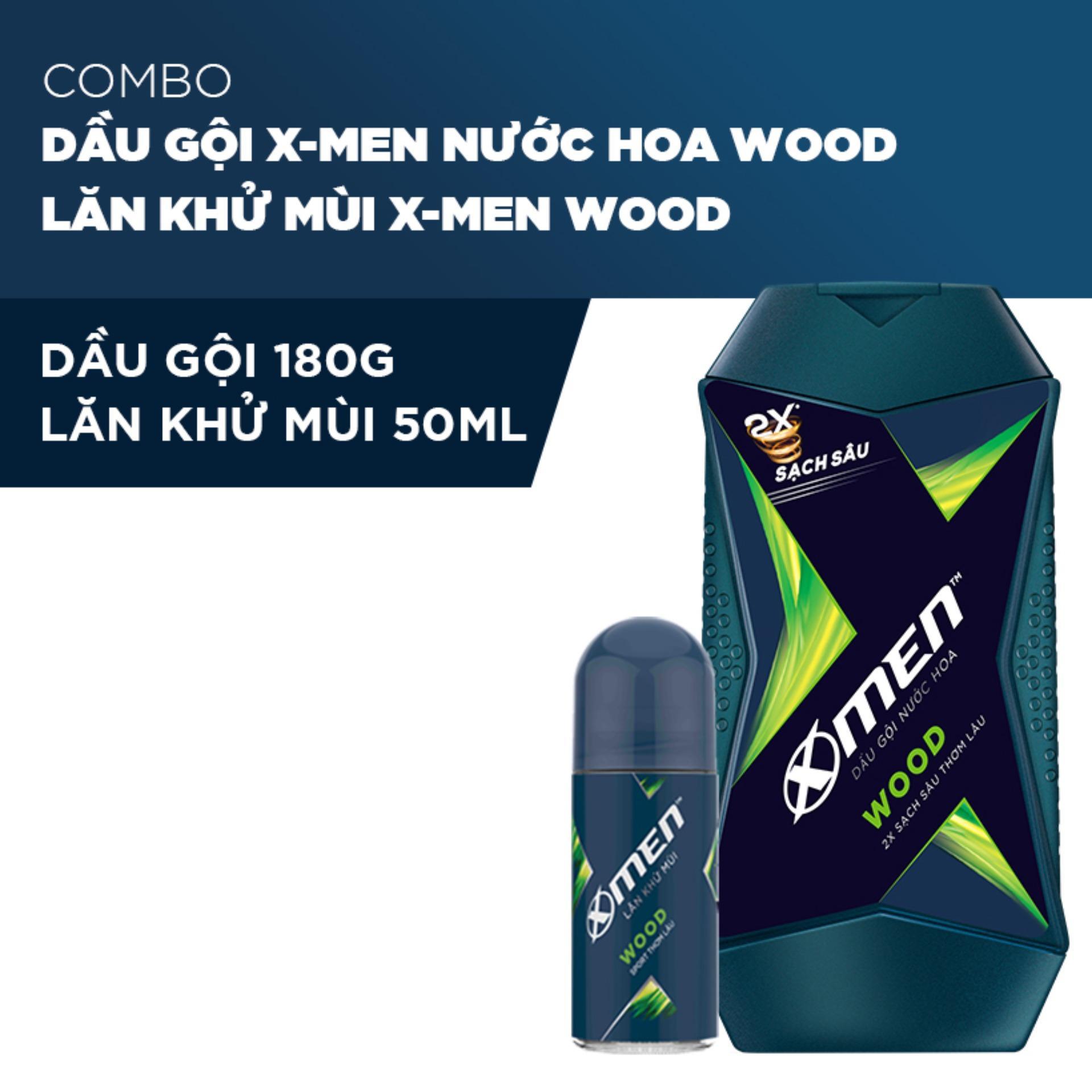 Combo Dầu Gội X-Men Nước hoa Wood 180g và Lăn khử mùi Xmen Wood 50ml