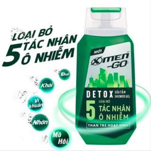 Sữa tắm Xmen Go Detox Ngừa vi khuẩn Thơm dài lâu Loại bỏ 5 tác nhân ô nhiễm thích hợp du lịch 100g cao cấp