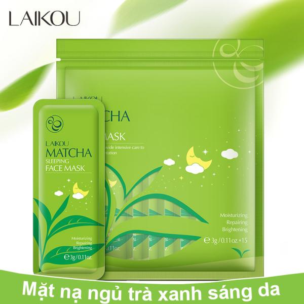 Combo 15 miếng Mặt nạ ngủ LAIKOU tinh chất trà xanh cấp ẩm chống lão hóa mặt nạ dưỡng trắng mặt nạ ngủ matcha mặt nạ nội địa Trung IW-MN163