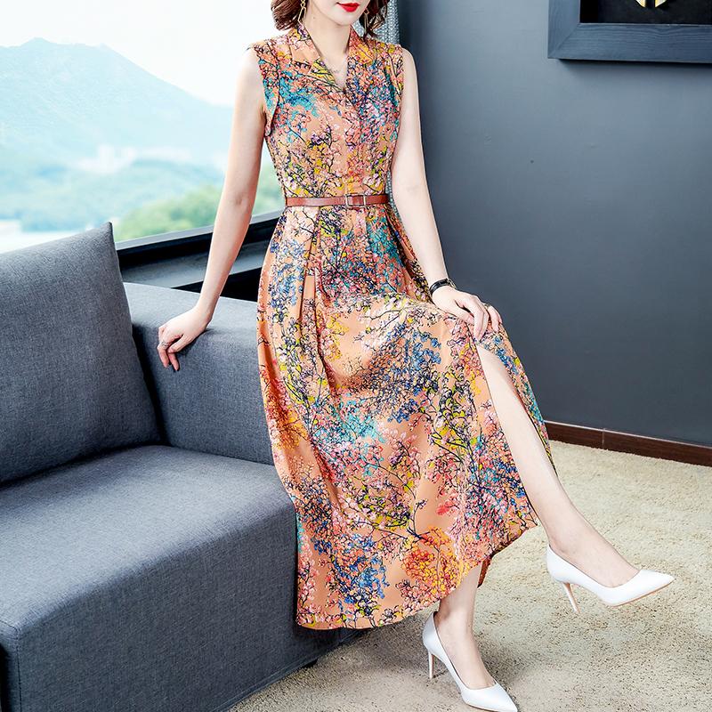 FaLeeOn FASHIEN Thanh Lịch Váy Liền 2020 Năm Mẫu Mới Quần Áo Nữ Tuổi Mùa Xuân Và Mùa Thu 35-45 Trang Phục Mùa Hè Quần Áo Mùa Xuân Tay Áo 5 Phân