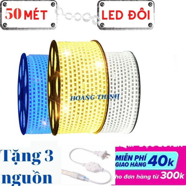 [50 MÉT] Dây đèn led trang trí, led đôi 2835 HẮT TRẦN thạch cao- TẶNG KÈM 3 nguồn sáng : trắng, Vàng, Xanh dương, dây bọc sillicon chống nước