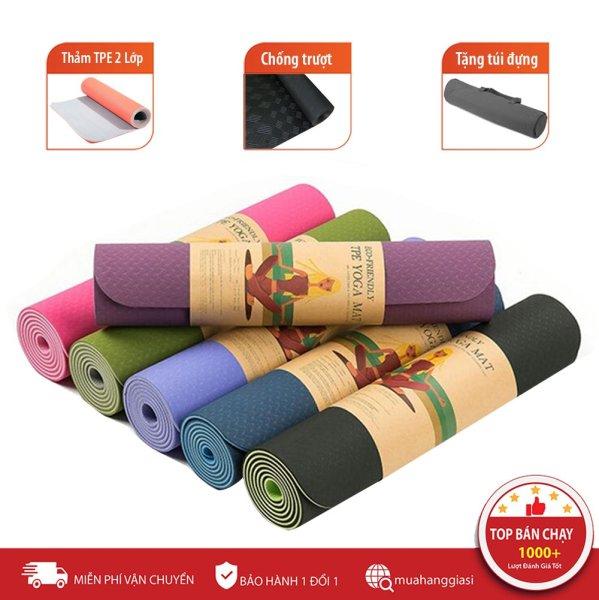 Thảm tập gym và yoga TPE 2 lớp đủ màu, thảm tập yoga tpe 2 lớp 6mm cao cấp, chất liệu an toàn khi tiếp xúc với da