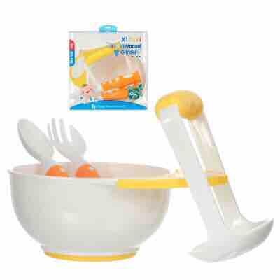 Set ăn dặm nghiền thức ăn cho bé có kèm bộ muỗng nĩa