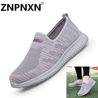 ZNPNXN Người phụ nữ Hàn Quốc Giày lười đế bằng không trơn trượt Giày đi bộ dệt thoi